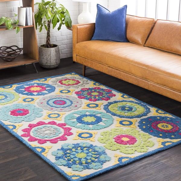 Aqua, Bright Blue, Lime, Yellow, Pink, Taupe Bohemian Area Rug