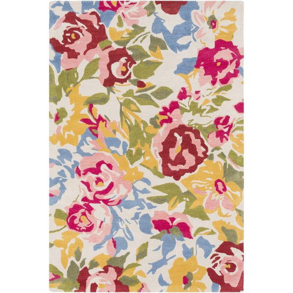 Cream, Pale Pink, Saffron, Rust, Green, Denim Floral / Botanical Area Rug