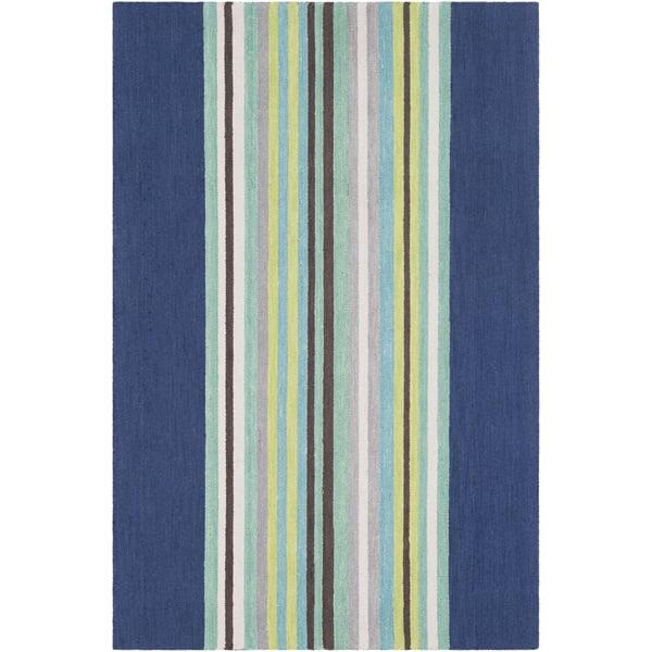 Dark Blue, Mint, Light Grey, Lime, Khaki, Teal Striped Area Rug