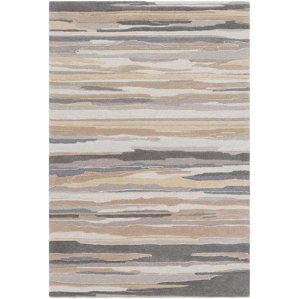 Beige, Taupe, Grey (VRN-1009) Contemporary / Modern Area Rug