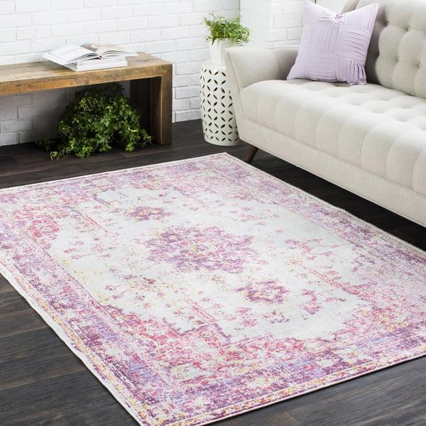 Pink, Light Grey, Lavender, Purple, Saffron Traditional / Oriental Area Rug