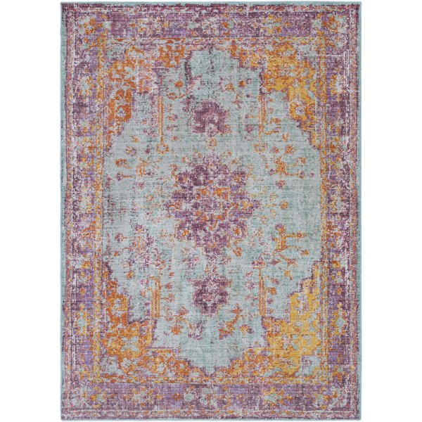 Sea Foam, Lavender, Saffron, Violet, White Vintage / Overdyed Area Rug