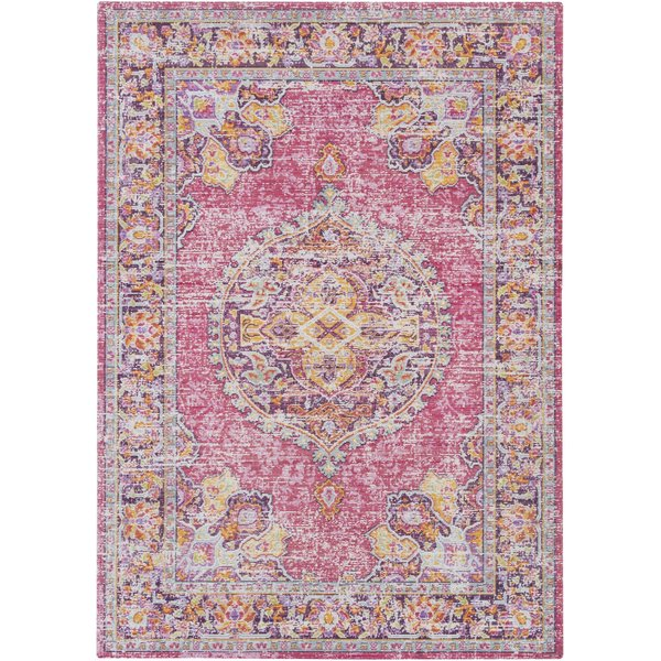 Bright Pink, Garnet, Purple, Yellow, Saffron Vintage / Overdyed Area Rug