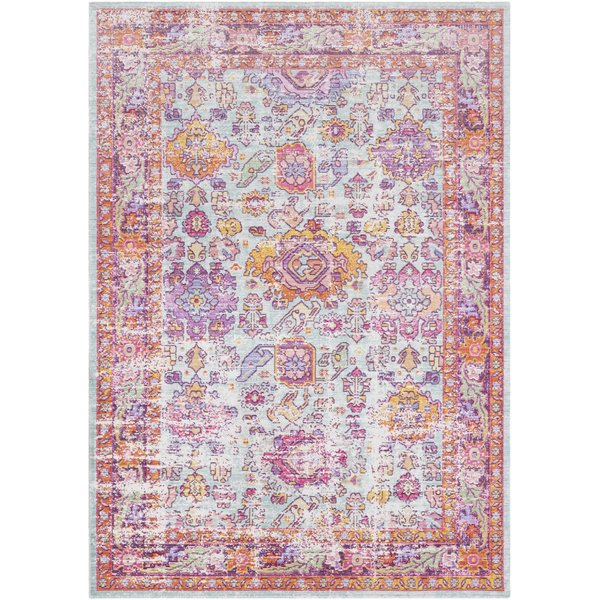 Bright Pink, Sea Foam, White, Lavender, Lime Vintage / Overdyed Area Rug