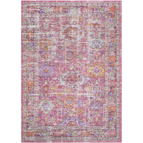 Bright Pink, Lavender, Saffron, Purple, Lime Vintage / Overdyed Area Rug