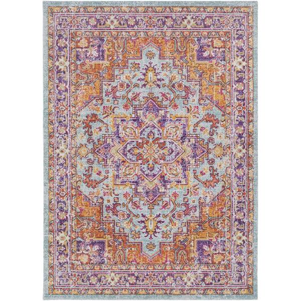 Sea Foam, Garnet, Lavender, Purple, Saffron Vintage / Overdyed Area Rug