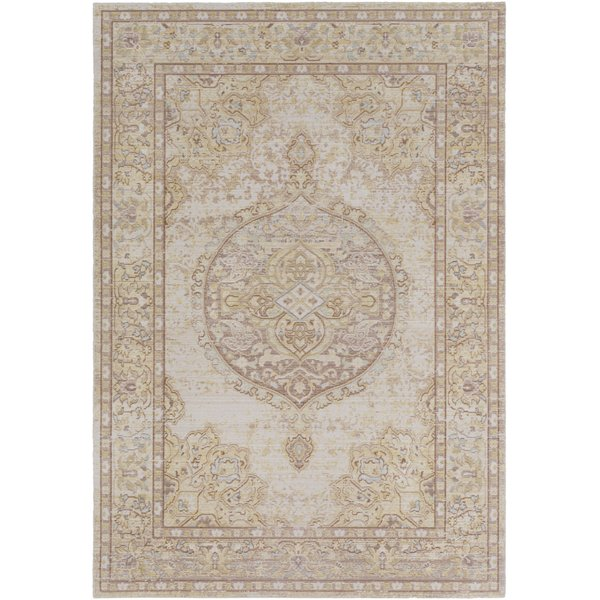 Bright Yellow, Camel, White Traditional / Oriental Area Rug