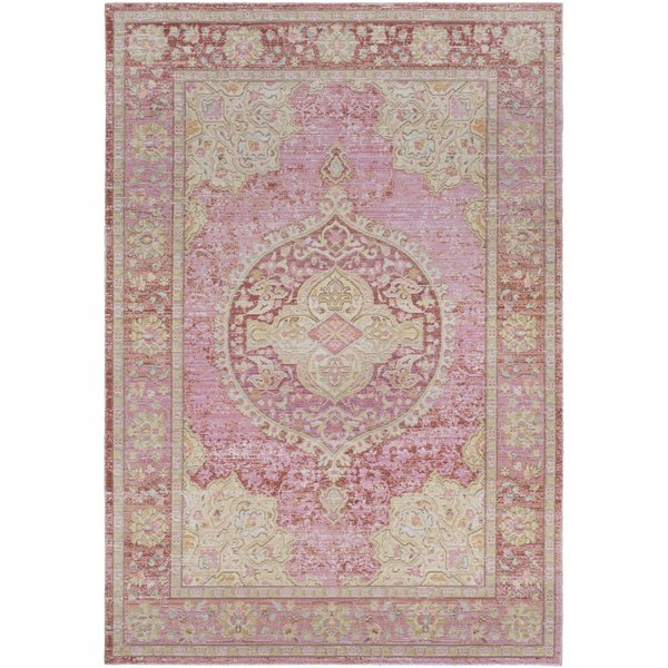 Bright Pink, Bright Yellow Traditional / Oriental Area Rug