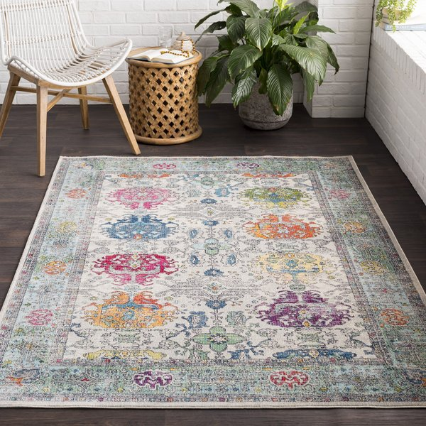 Medium Grey, Sky Blue, Dark Green, Rose, Saffron Vintage / Overdyed Area Rug