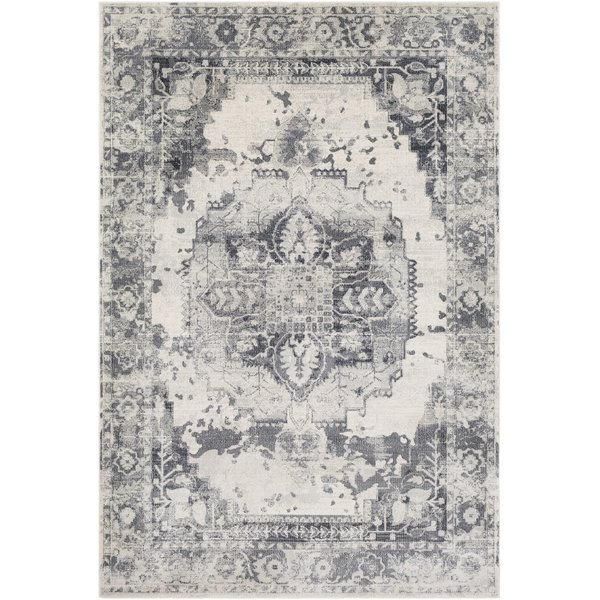 Medium Gray, Charcoal, White Vintage / Overdyed Area Rug