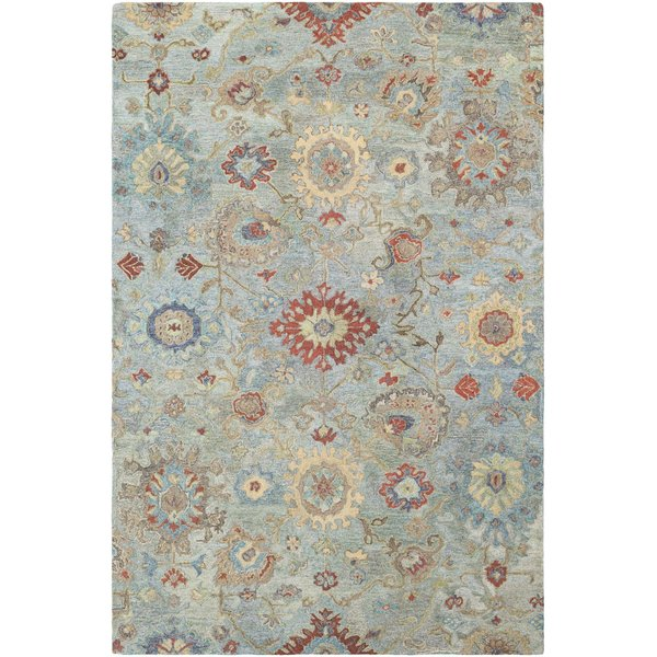 Emerald, Aqua, Wheat, Teal, Burnt Orange, Khaki Traditional / Oriental Area Rug