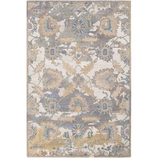 Cream, Medium Grey, Teal, Wheat, Camel, Sea Foam Vintage / Overdyed Area Rug