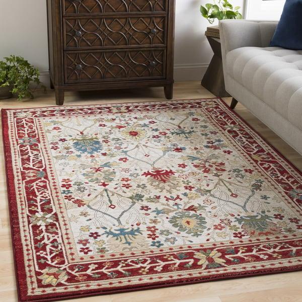 White, Khaki, Dark Red, Navy, Olive, Saffron Traditional / Oriental Area Rug