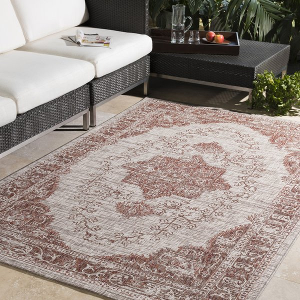 Light Grey, White, Red (EAG-2301) Vintage / Overdyed Area Rug