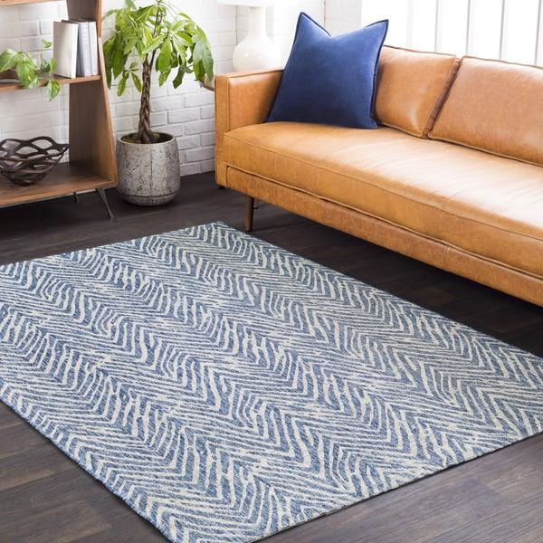 Light Grey, Blue, Black (EAG-2319) Contemporary / Modern Area Rug