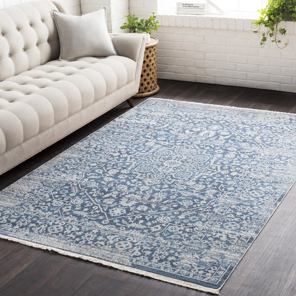 Sky Blue, Aqua, Beige, Cream, Saffron, Medium Grey Vintage / Overdyed Area Rug