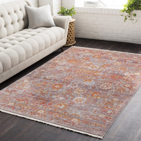 Silver, Pale Pink, Grey, Burnt Orange, Rose Traditional / Oriental Area Rug