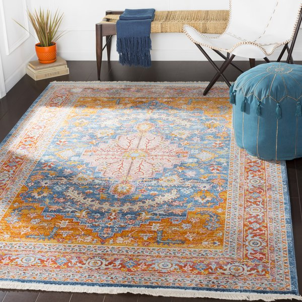 Aqua, Sky Blue, Saffron, Burnt Orange Traditional / Oriental Area Rug