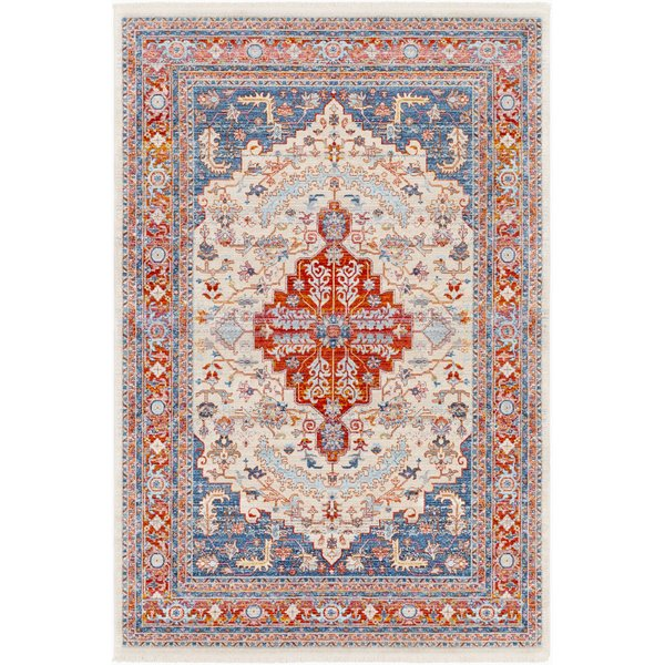 Pale Pink, Rose, Beige, Sky Blue Traditional / Oriental Area Rug