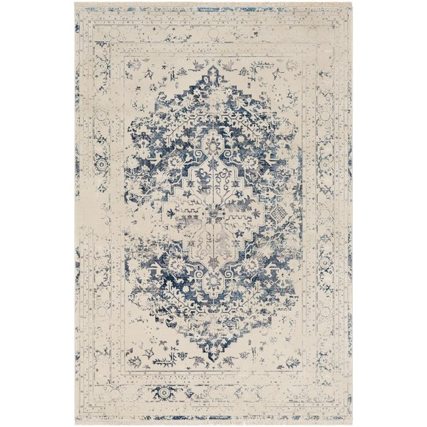 Sky Blue, Bright Red, Cream Vintage / Overdyed Area Rug