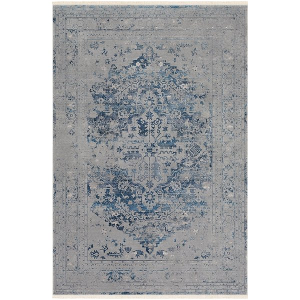Medium Gray, Aqua, Sky Blue Vintage / Overdyed Area Rug
