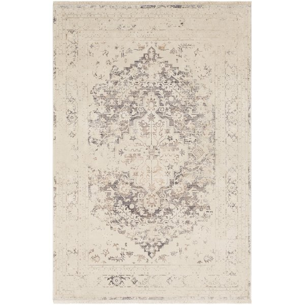 Beige, Cream, Silver Gray Vintage / Overdyed Area Rug
