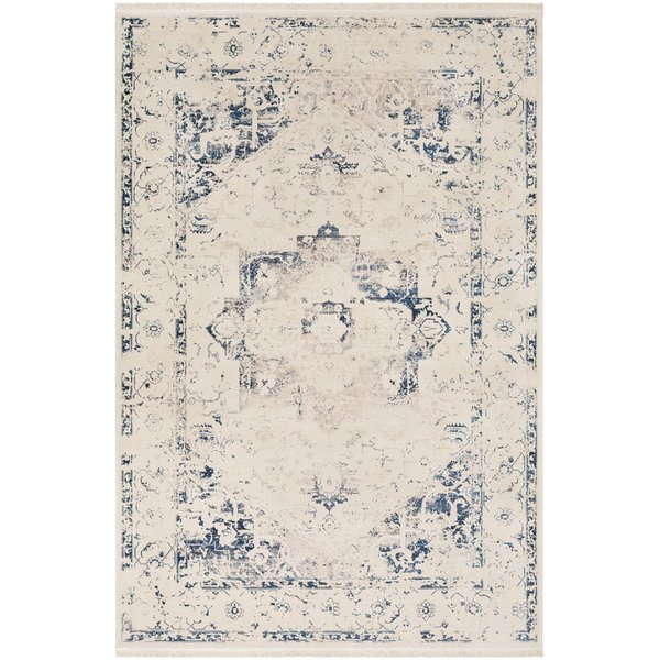 Cream, Beige, Sky Blue Traditional / Oriental Area Rug