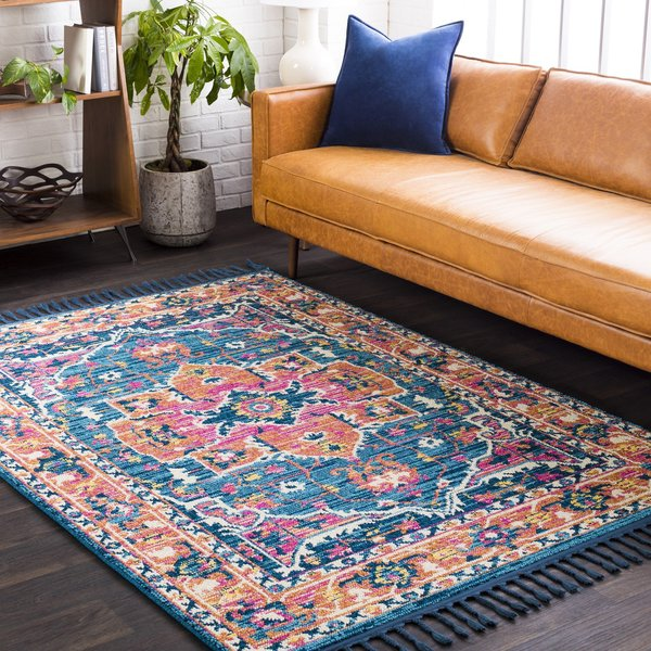 Burnt Orange, Peach, Navy, Sky Blue, Yellow, Ivory Bohemian Area Rug
