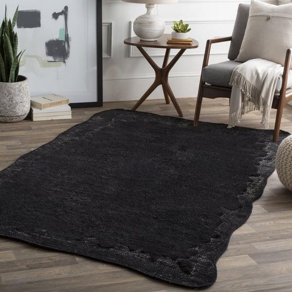 Black, Light Gray Contemporary / Modern Area Rug