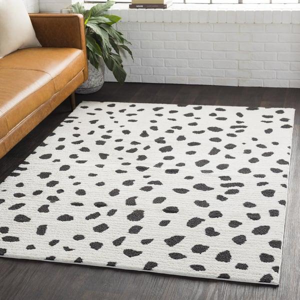White, Black, Charcoal Shag Area-Rugs