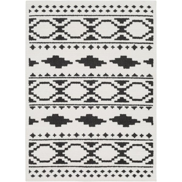 White, Charcoal, Black Southwestern Area Rug