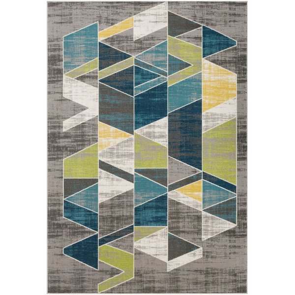 Teal, Lime Geometric Area Rug