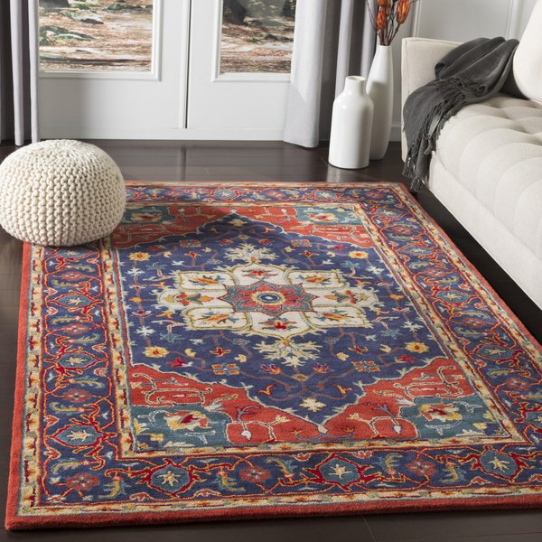 Beige, Navy, Bright Red, Rust, Teal, Mustard Traditional / Oriental Area Rug