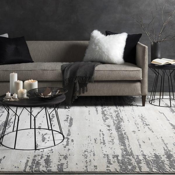 Khaki, Medium Grey, Charcoal, Cream Vintage / Overdyed Area Rug