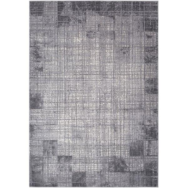 Medium Grey, Taupe, Cream Contemporary / Modern Area Rug