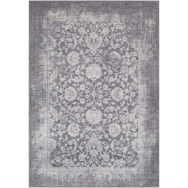 Medium Grey, Charcoal, Ivory, Taupe Vintage / Overdyed Area Rug
