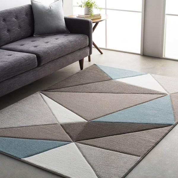 Taupe, Dark Brown, Aqua, White (SAC-2304) Contemporary / Modern Area Rug