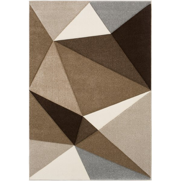 Dark Brown, White, Camel, Medium Grey (SAC-2314) Contemporary / Modern Area Rug