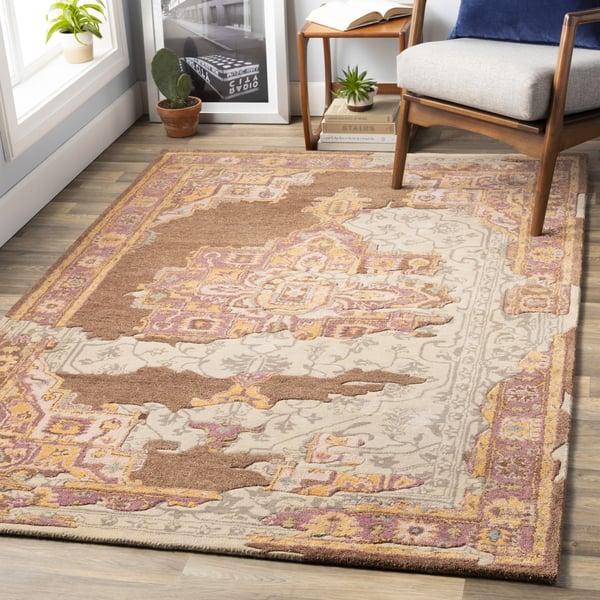Camel, Mauve, Peach, Teal, Olive (HNO-1000) Vintage / Overdyed Area Rug