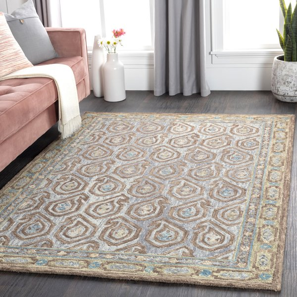 Grey, Brown, Teal Contemporary / Modern Area Rug