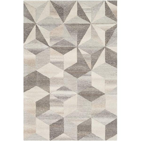 Cream, Taupe, Medium Gray Contemporary / Modern Area Rug