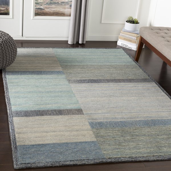 Grey, Blue, Sage (EBM-1007) Contemporary / Modern Area Rug