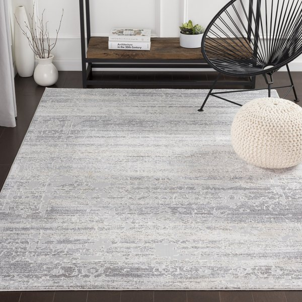 Silver Gray, White, Medium Gray Vintage / Overdyed Area Rug