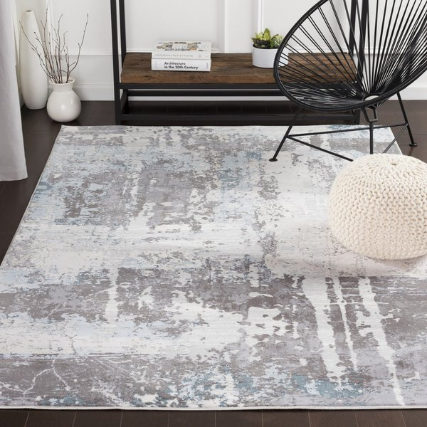 White, Medium Gray, Pale Blue Abstract Area Rug