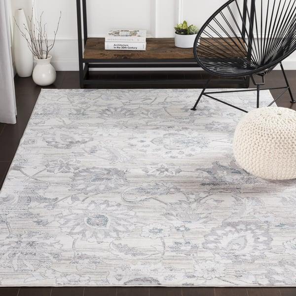 Silver Gray, White, Denim Vintage / Overdyed Area-Rugs