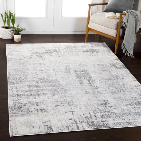 Silver Gray, White, Pale Blue Contemporary / Modern Area Rug