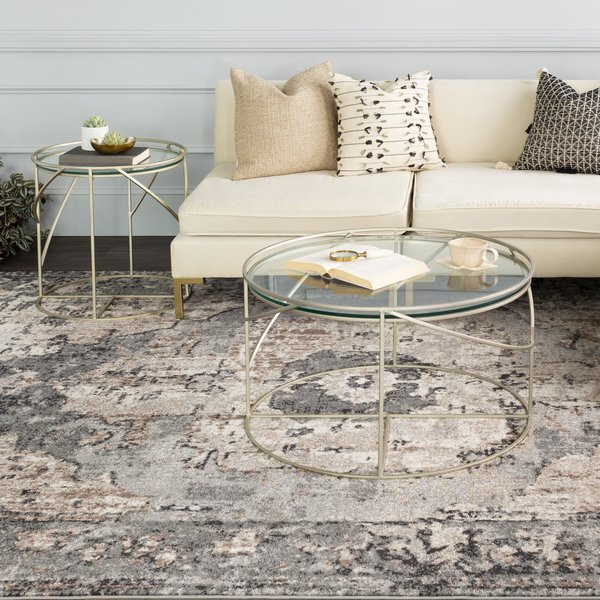 Charcoal, Dark Brown, Camel Traditional / Oriental Area Rug