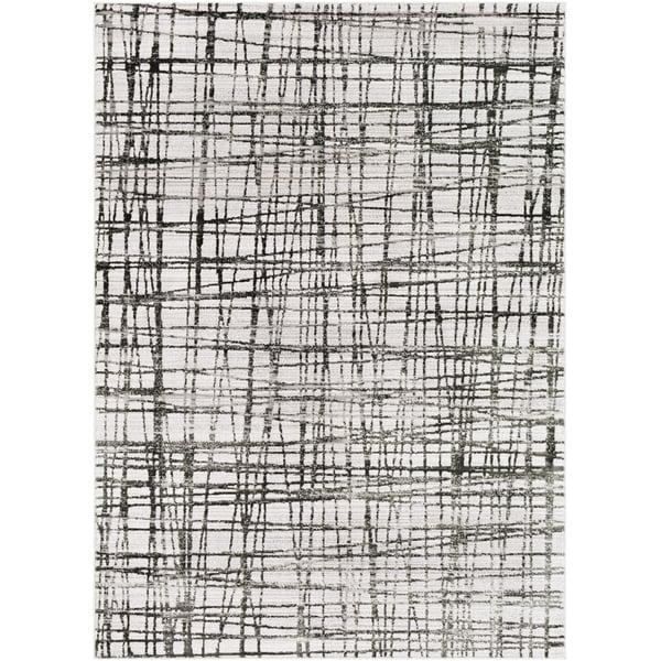 Lavender, Medium Gray, Black Contemporary / Modern Area Rug