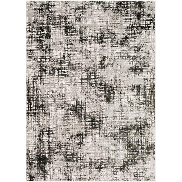 Lavender, Medium Gray, Black Abstract Area Rug