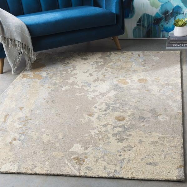 Khaki, Taupe, Medium Gray Abstract Area Rug